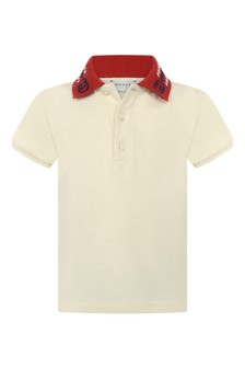 Baby Boys Ivory Piquet Embroidered Collar Polo Top