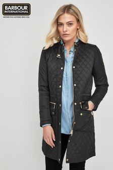 Barbour® International Black Gower Quilted Coat