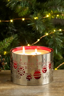 Festive Spice Metal Cut Out 3 Wick Candle