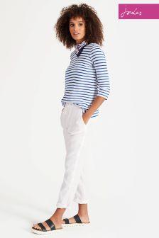 Joules White Monaco Linen Trouser