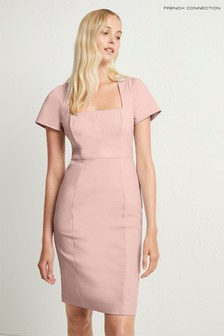 French Connection Pink Glass Stretch Cap Sleeve Dress