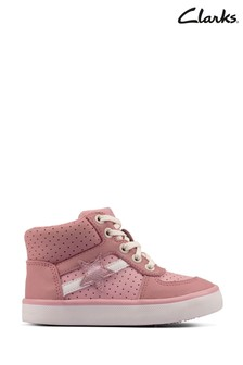 Clarks Pink Leather City Flake Boots