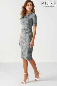 Pure Collection Silver Cowl Neck Dress