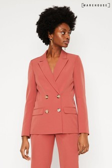 Warehouse Pink Double Breasted Crepe Blazer