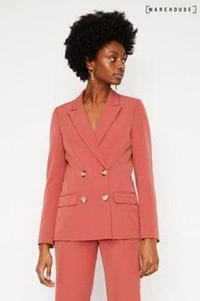 Warehouse Zweireihiger Krepp-Blazer, pink