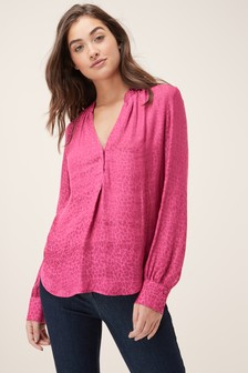 Animal Jacquard Pop-Over Blouse