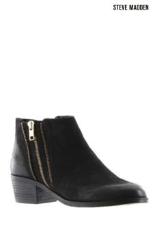 Steve Madden Black Palden Zip Ankle Boot