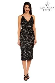 שמלה קצרה עם חרוזים של Adrianna Papell בשחור