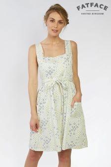 Платье цвета слоновой кости с геометрическим рисунком в мелкий цветочек FatFace Serena