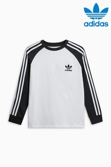 adidas Originals White and Black Long Sleeve California Tee
