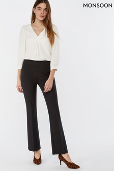 Monsoon Ladies Black Elizabeth Button Hem Trouser