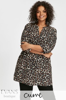 Evans Black Neutral Animal Print Shirt