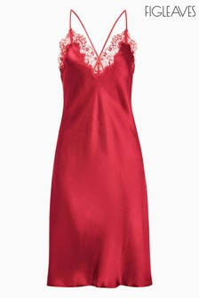 Figleaves Red Lana Pure Silk And Lace Chemise
