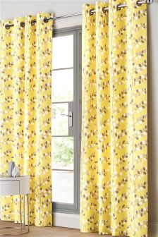 Graphic Leaf Eyelet Curtains