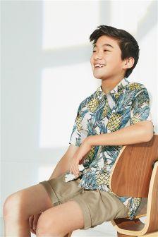 Short Sleeve Pineapple Print Shirt (3-16yrs)