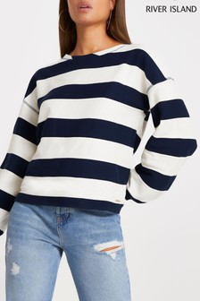 River Island Blue Wide Stripe Textured Sweat Top