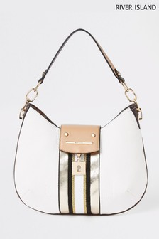 River Island White Lock Scoop Slouch Bag
