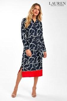 Lauren Ralph Lauren® Navy Bridle Print Shirt Dress