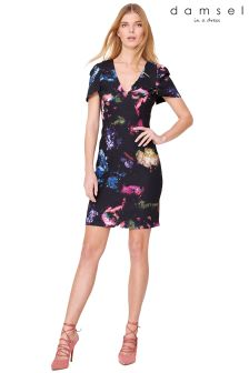 Damsel Purple Pixelated Floral Dress