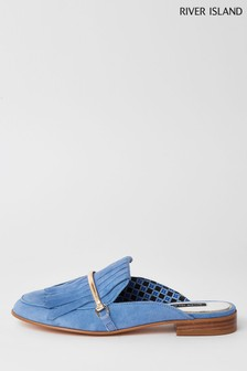 River Island Blue Tassel Flat Loafer