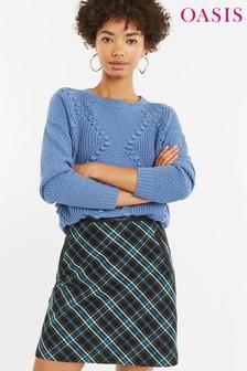 Oasis Pullover mit Zopfmuster und Bommelverzierung, blau