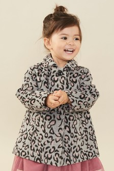 Wool Blend Animal Print Coat (3mths-7yrs)