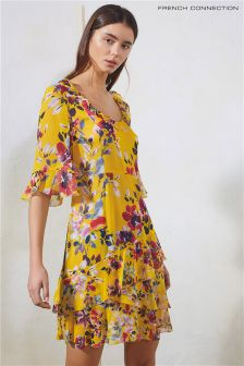 French Connection Yellow Linosa Crinkle Tiered Dress