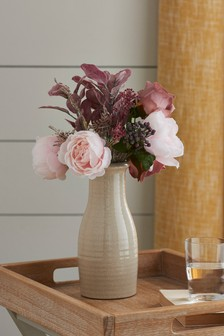 Artificial Blush Roses In Vase