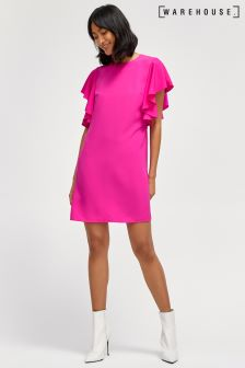 Warehouse Pink Ruffle Dress