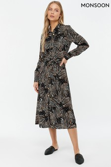 Monsoon Ladies Black Zia Zebra Print Shirt Dress