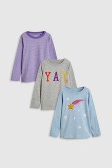 Printed Long Sleeve T-Shirts Three Pack (3-16yrs)