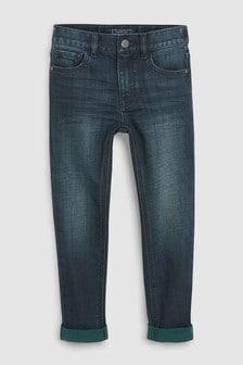 Зауженные джинсы с зелеными отворотами (3-16 лет)