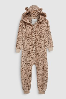 Leopard Print Fleece All-In-One (3-16yrs)