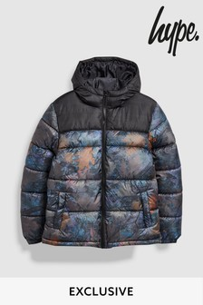 Hype. Black/Brown Leaves Quilted Jacket