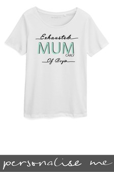 Personalised Exhausted Mum Printed T-Shirt