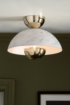 White Bianco Flush Ceiling Light