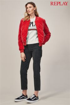 Replay® Alexys Cropped Straight High Rise Black Wash Jean