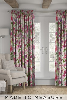 Watercolour Floral Pink Made to Measure Curtains