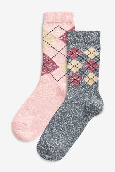 Thermal Argyle Pattern Socks Two Pack