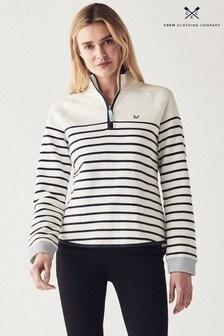 Crew Clothing Company White Half Zip Sweater