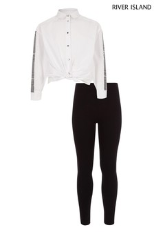 River Island White Shirt With Sleeve Check And Legging Set