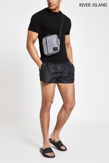 River Island Black Monogram Short Swim Short