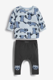 2 Piece Racoon T-Shirt And Leggings Set (0mths-2yrs)