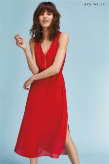 Jack Wills Red Palmsley Long Pleated Dress