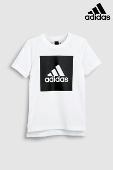 adidas White Box Logo Tee