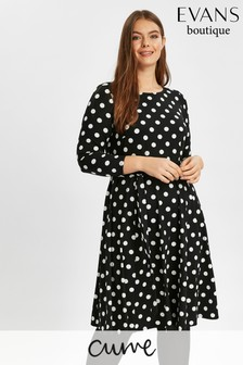 Evans Black Spot Pretty Dress