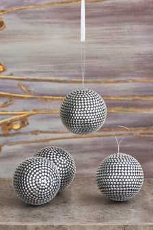 Set of 4 Silver Studded Baubles