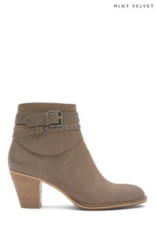 Mint Velvet Brown Peyton Nubuck Stud Detail Ankle Boot