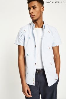 Jack Wills Blue/White Barson Embroidered Shirt