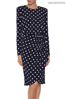Gina Bacconi Blue Rae Spot Dress With Bow Detail